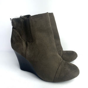 SALE | OLD NAVY Faux Suede Brown Wedge Bootie - 9